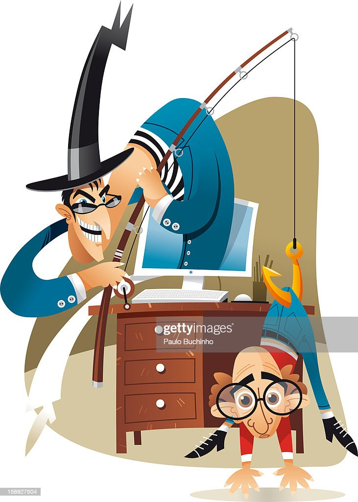 A man sticking out of a computer fishing for a man : Stock Illustration
