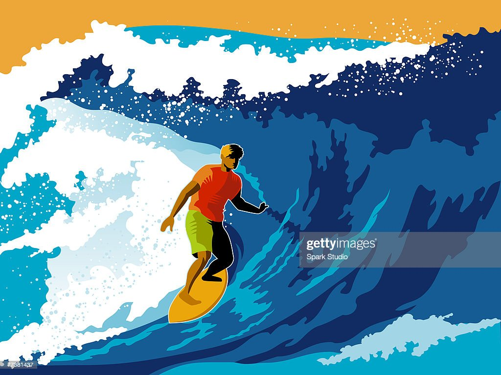 A man surfboarding a wave : Stock Illustration