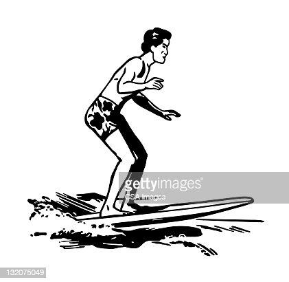 Man Surfing : Stock Illustration