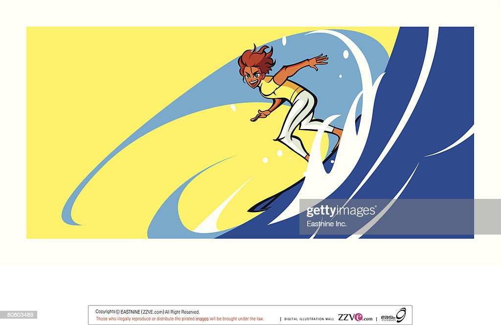 Man surfing in the sea : Vector Art