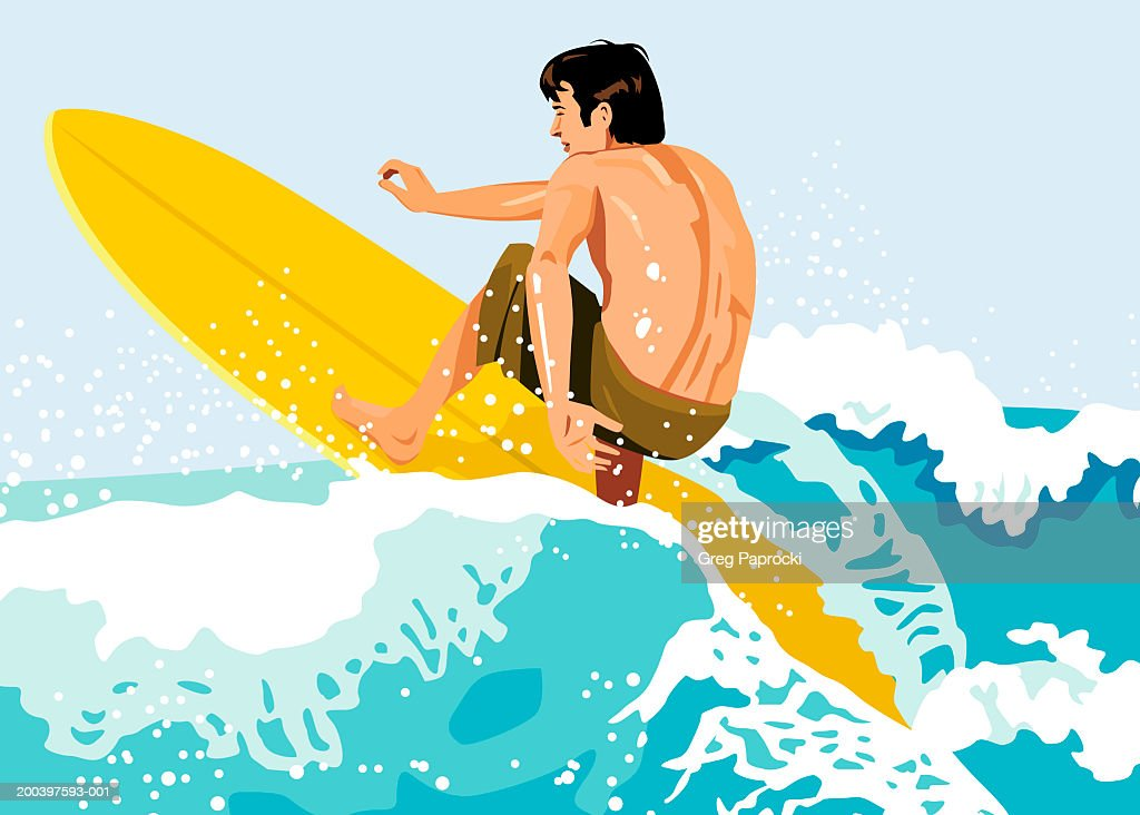 Man surfing, rear view : Stock Illustration