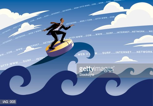 Man surfing waves on computer mouse; URL address appearing in sky : Stock Illustration