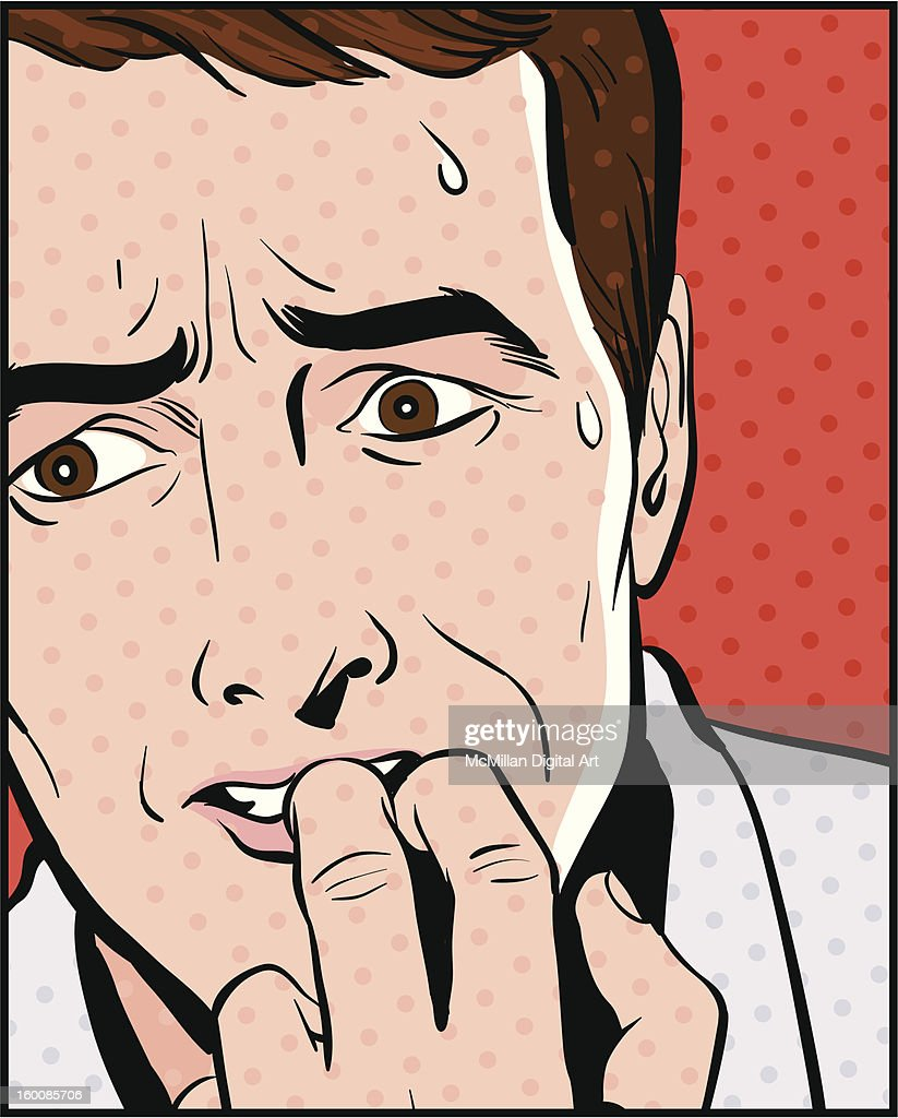 Man sweating, biting fingernails : Vector Art