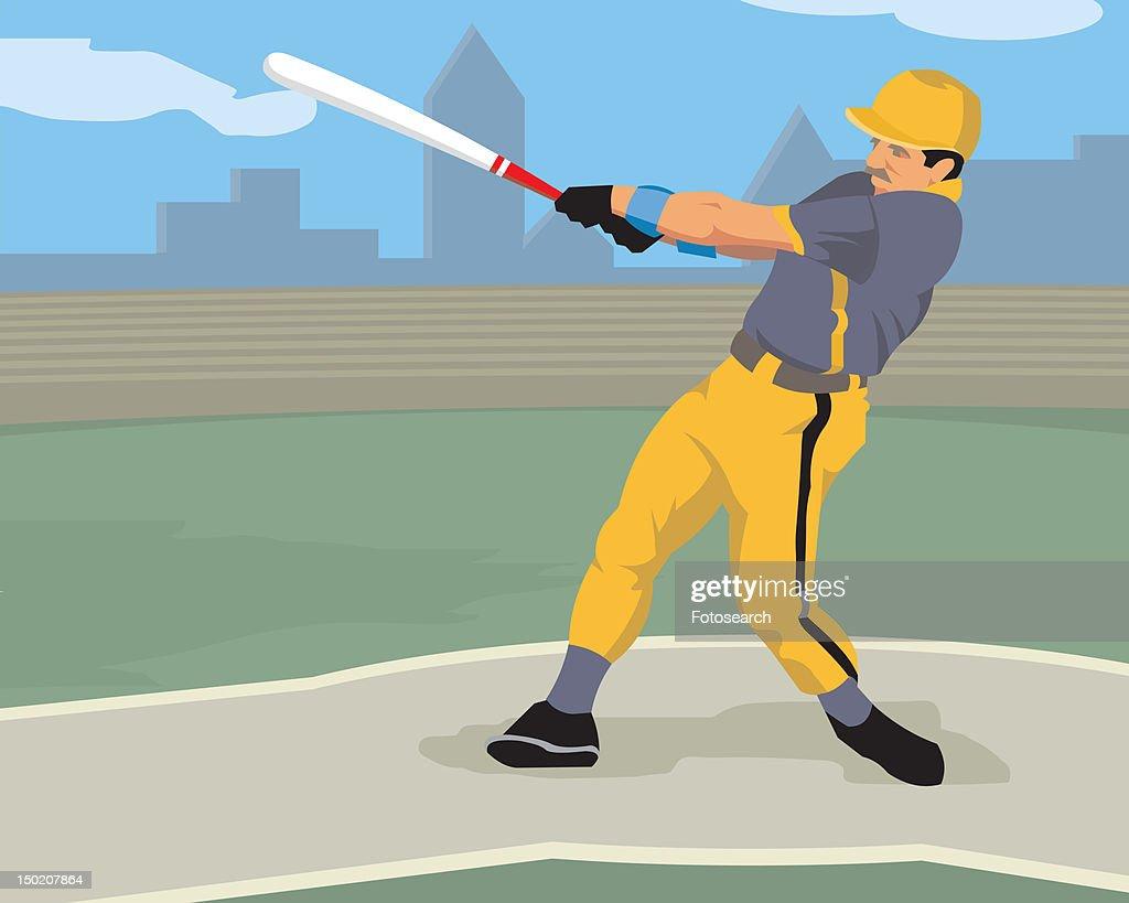 Man swinging a baseball bat : Stock Illustration