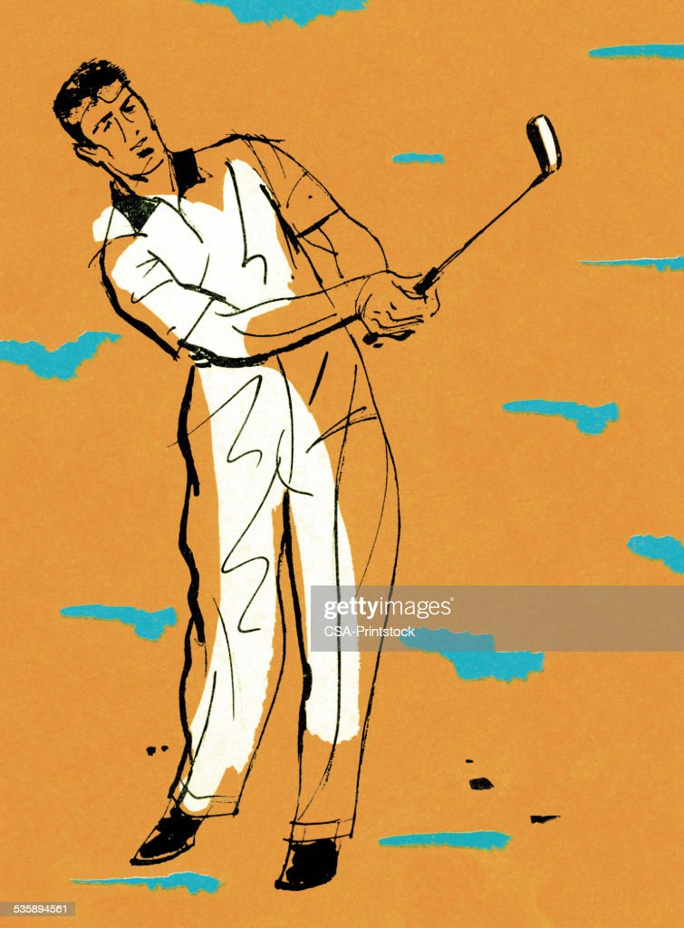 Man Swinging a Golf Club : Stock Illustration