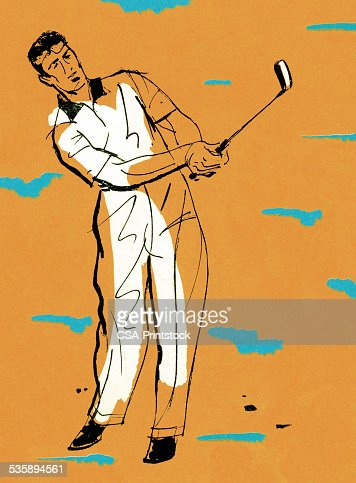 Man Swinging a Golf Club : Stock Illustration