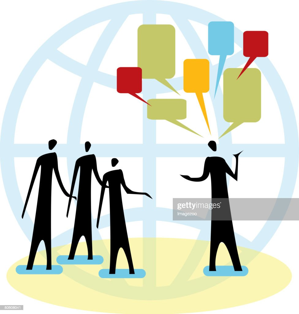 A man talking to a group of people : Vector Art