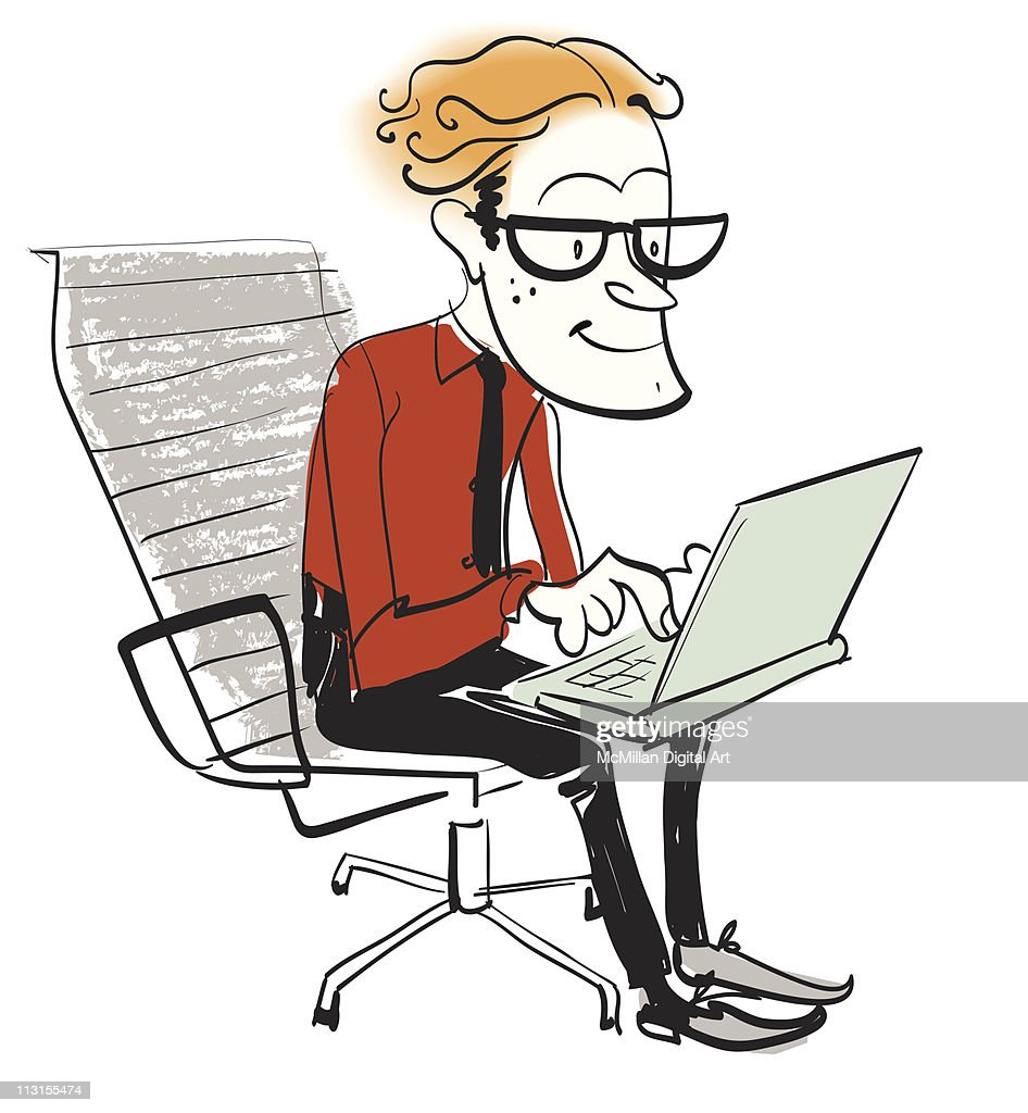 Man using laptop : Vector Art