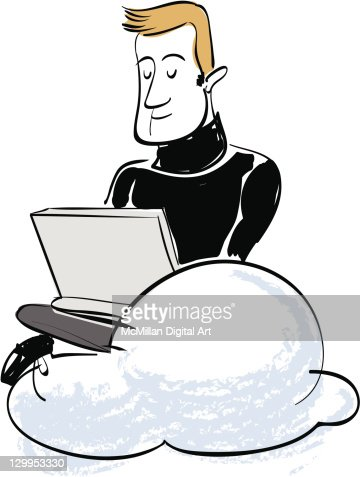 Man using laptop on cloud : Vectorkunst