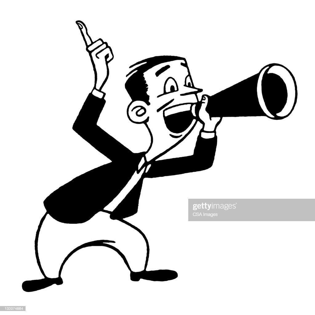 Man Using Megaphone : Stock Illustration