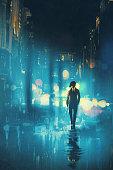 man walking at night on the wet street,illustration digital painting