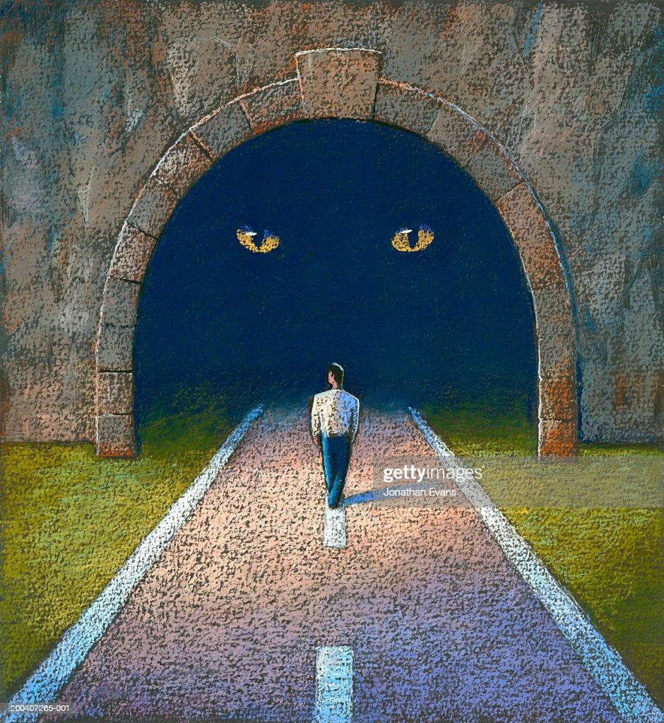 Man walking towards tunnel, facing large cat, rear view : Stock Illustration