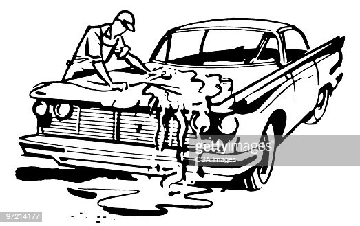 Man Washing A Car Stock Illustration