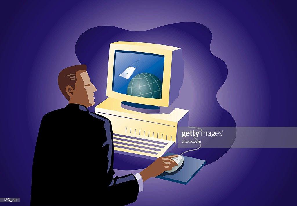 Man watching envelope flying around globe on computer screen : Stock Illustration