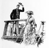Man Waves of a Woman from a boat in 'A Strange Elopement' from the historic pre-1900 book 'The English Illustrated Magazine 1891-1892'. Imprint and cover as release.