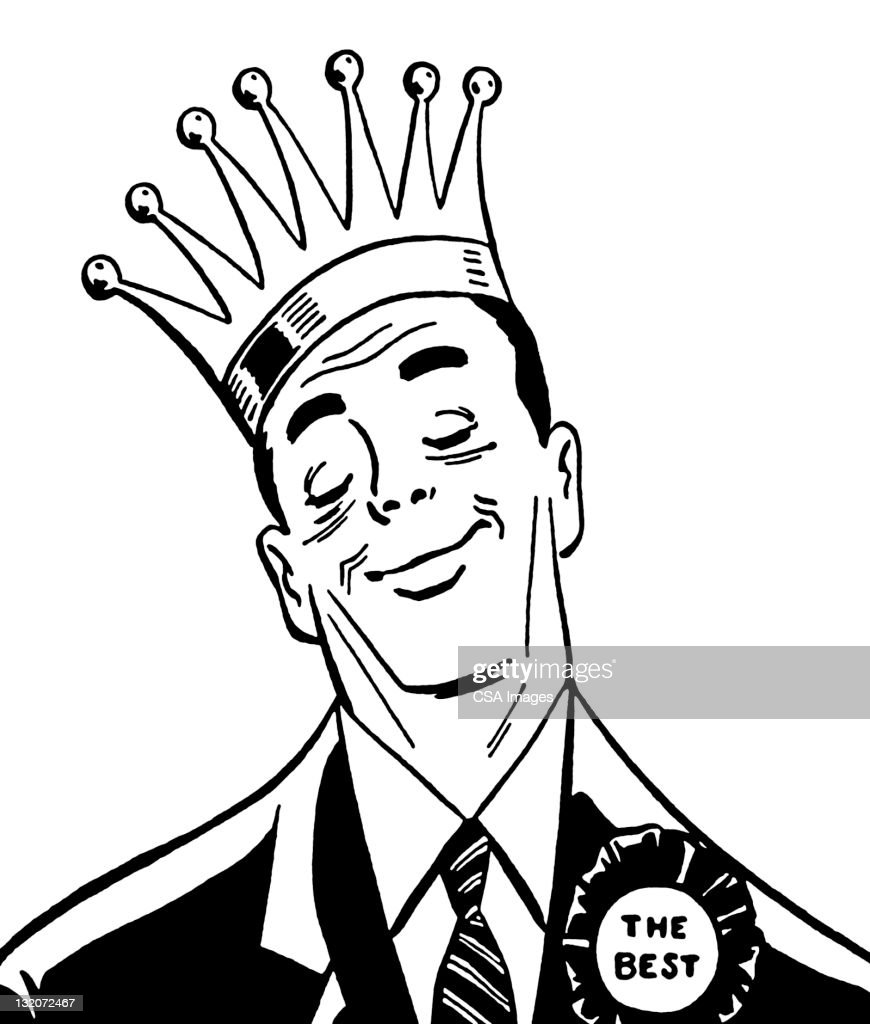 Man Wearing Crown and Ribbon : Stock Illustration