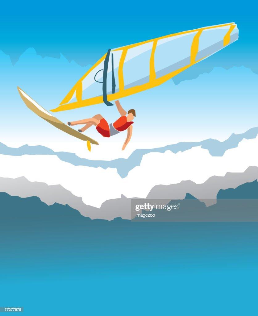 man windsurfing : Vector Art