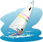 Man windsurfing on sea