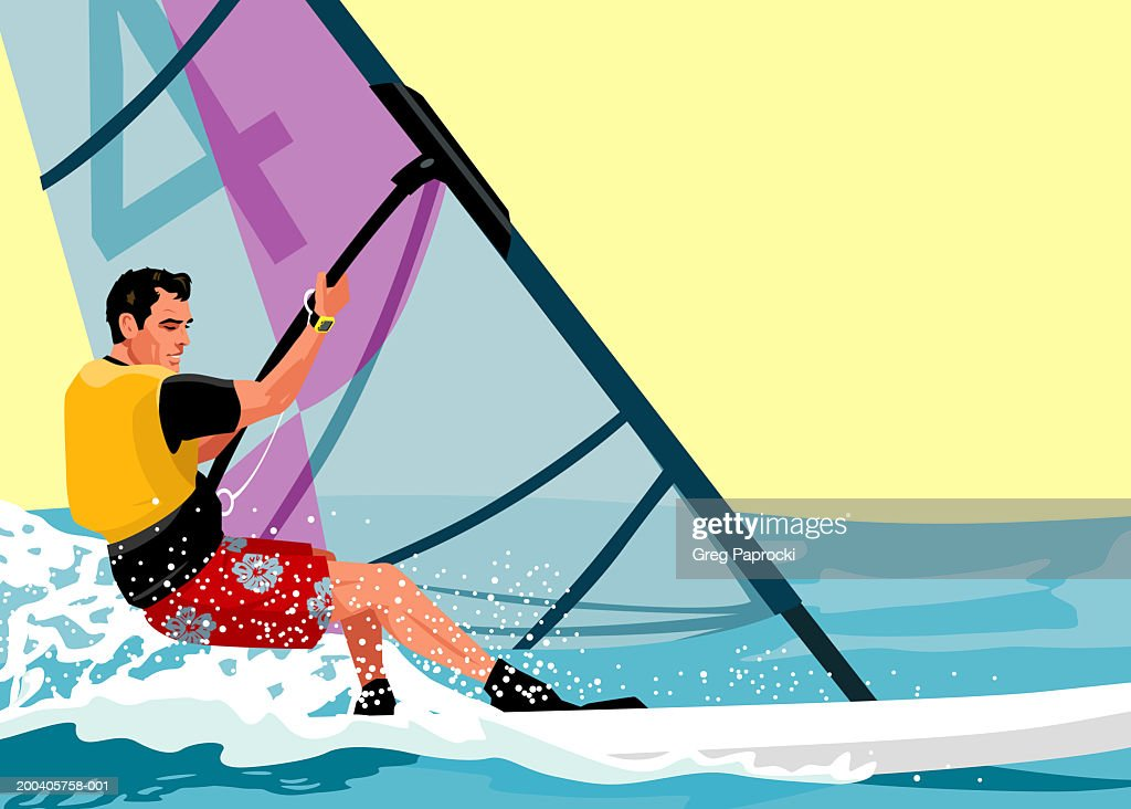 Man windsurfing, side view : Stock Illustration