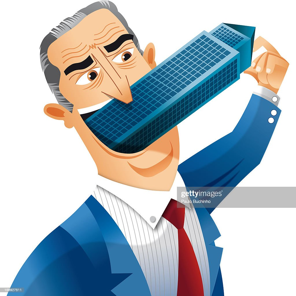 A man with a building in his mouth : Stock Illustration