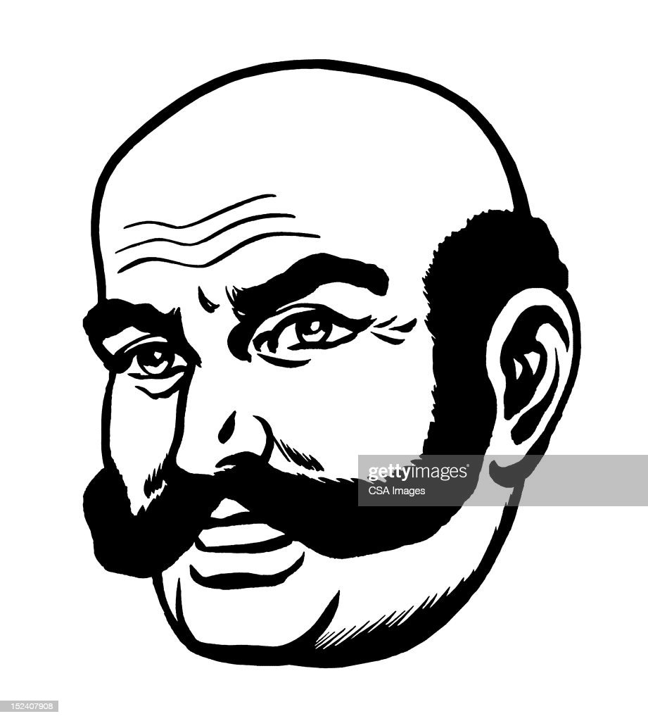 Man With Extreame Handlebar Mustache : Stock Illustration