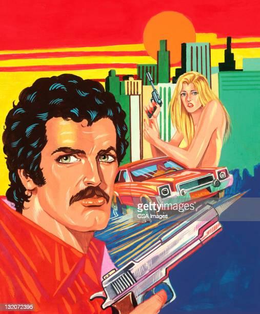 Man With Gun, Car and Woman