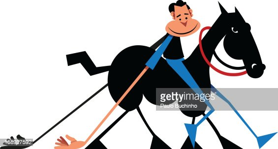 A man with long arms on a horse : Stock Illustration
