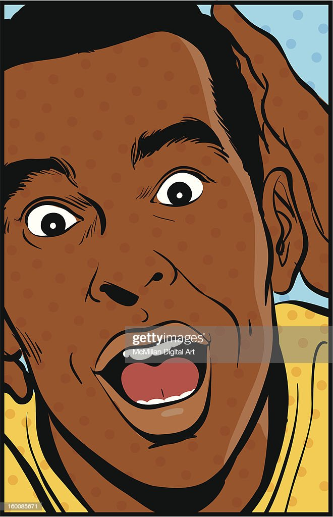 Man with wide eyes and open mouth : Vector Art