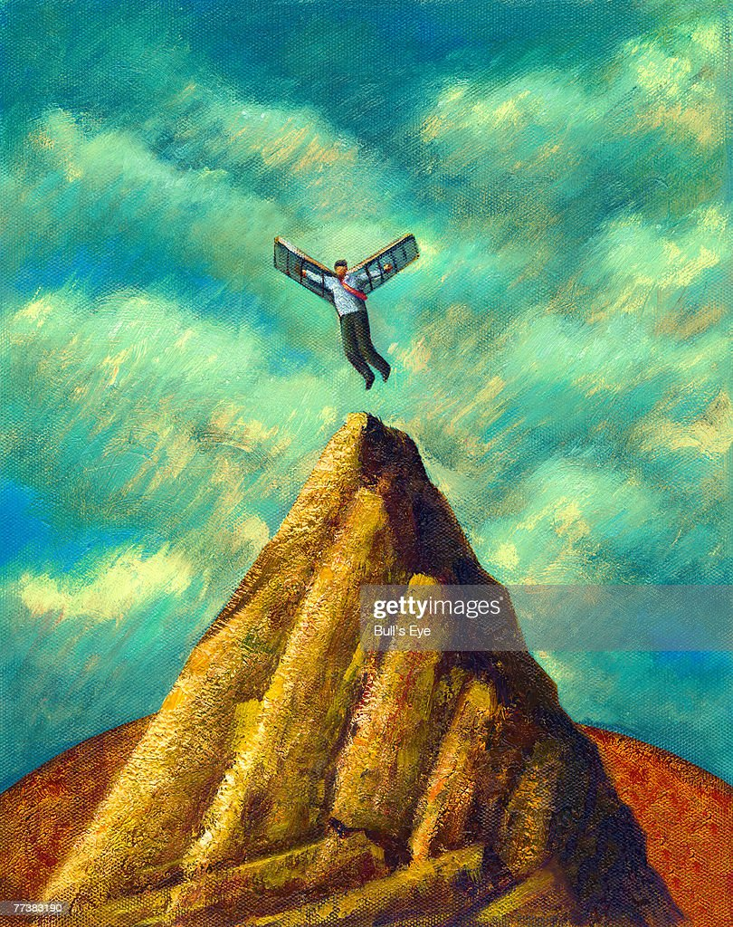 A man with wings flying from a mountain peak : Stock Illustration