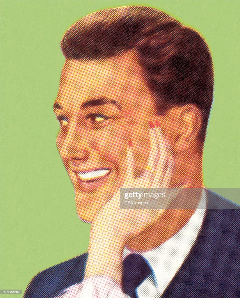 Man with Woman's Hand on His Face : Stock Illustration
