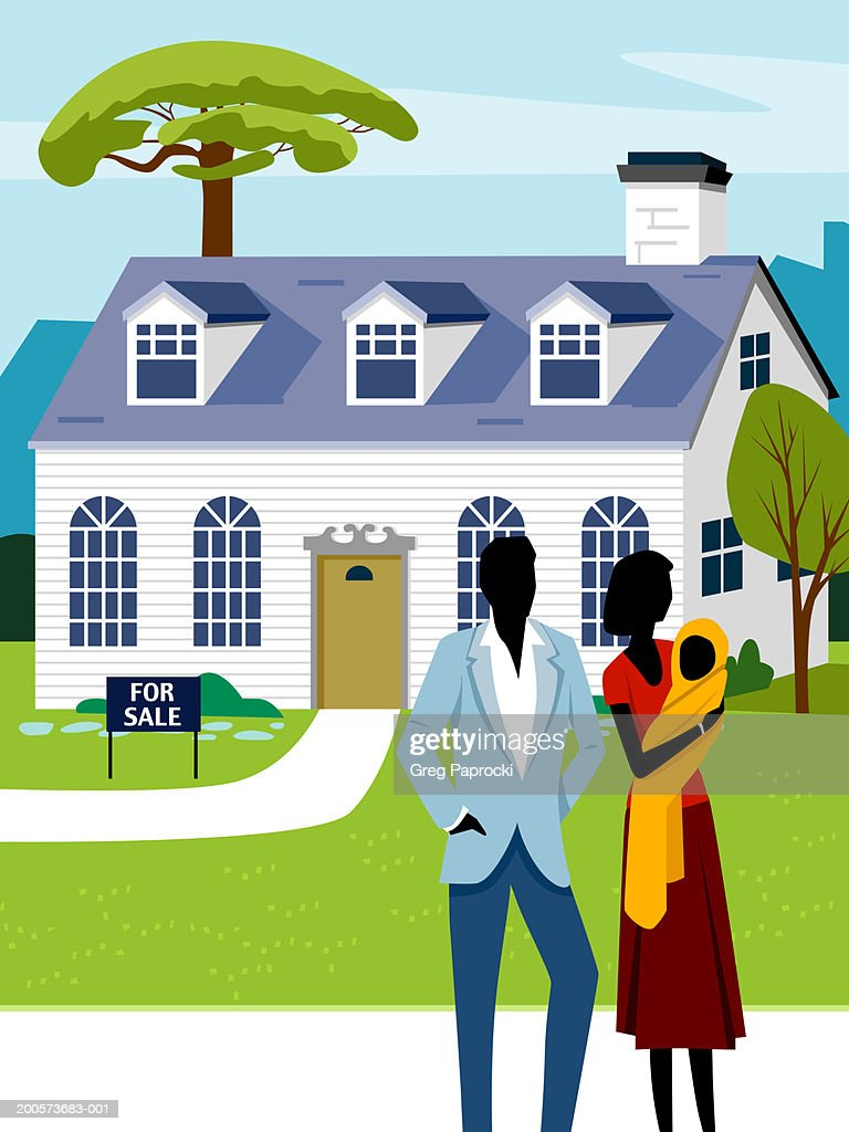 Man, woman and baby in front of house with 'For Sale' sign on lawn : Stock Illustration