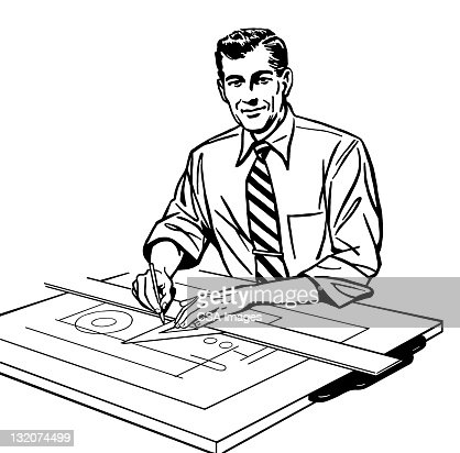 Man Working At Drafting Table Stock Illustration Getty
