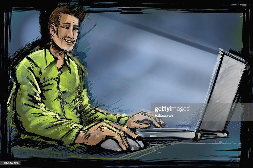Man working at laptop : Stock Illustration