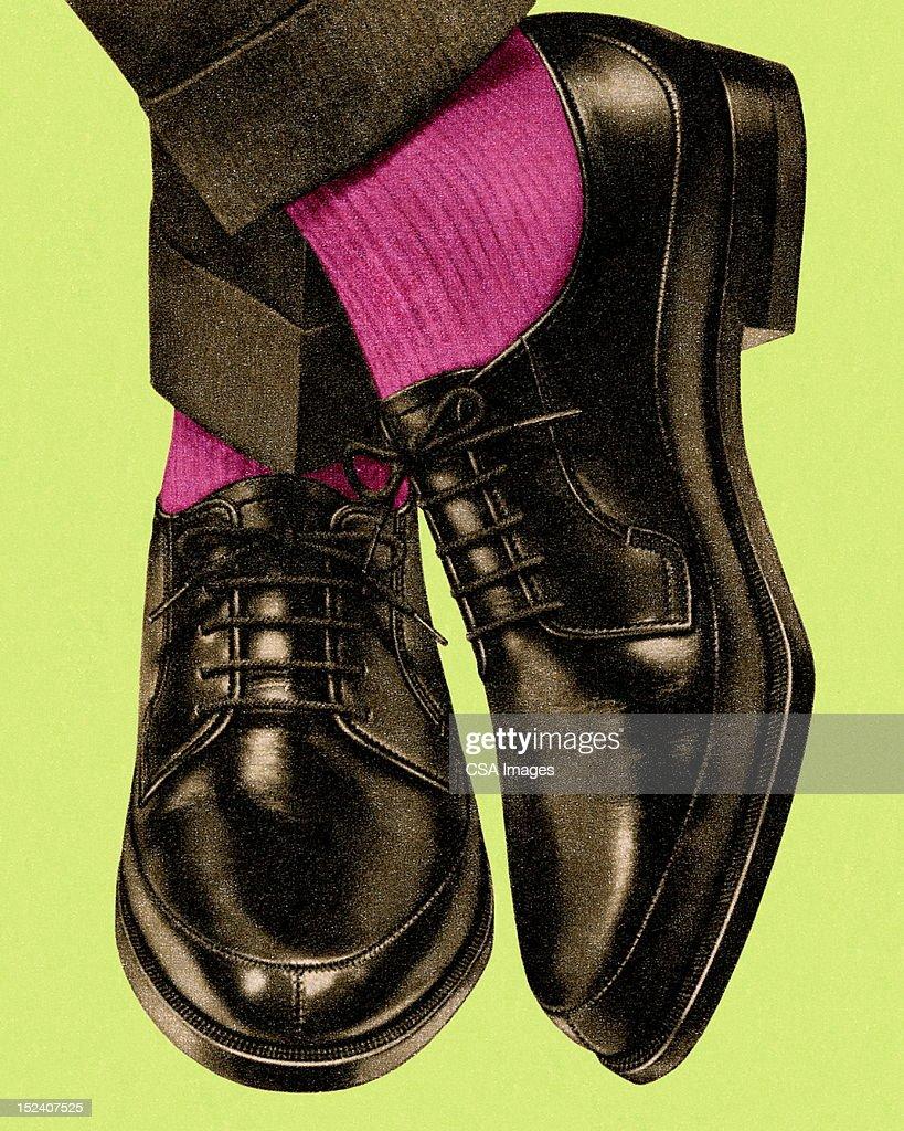 mans black dress shoes and pink socks stock illustration