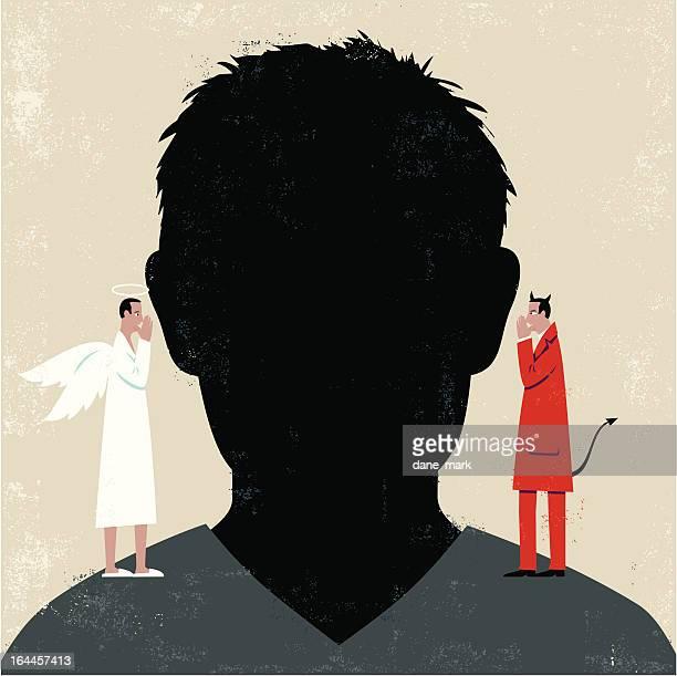 Mann's head mit Teufel und Engel auf den Schultern