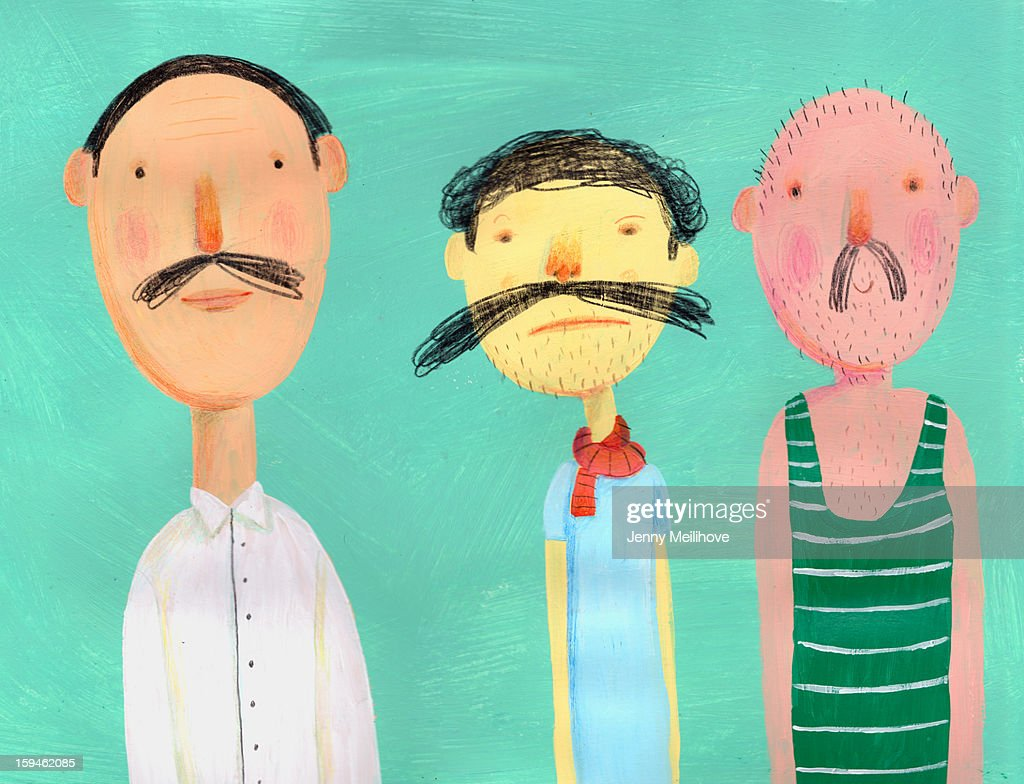 3 mans with mustache : Stock Illustration