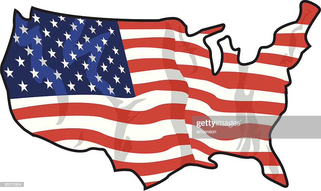 Usa Map American Flag Vector Art Getty Images - Us map flag
