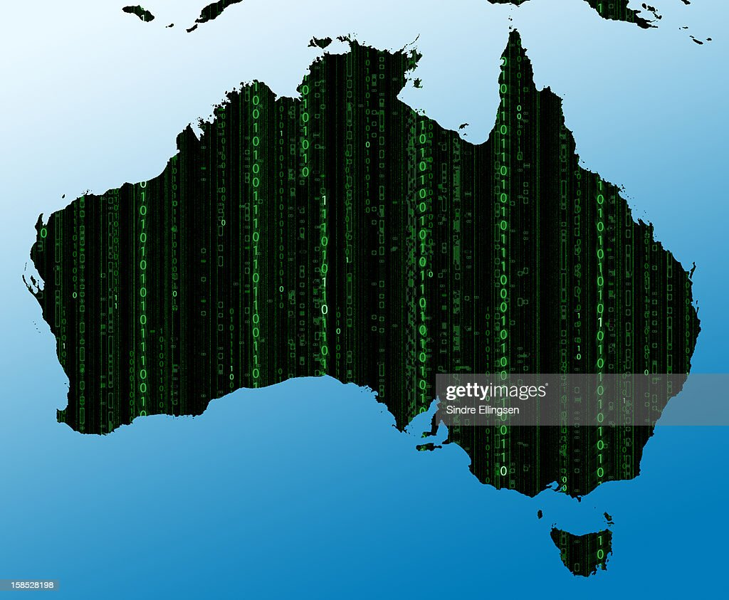 Map of Australia in binary code : Stock Illustration
