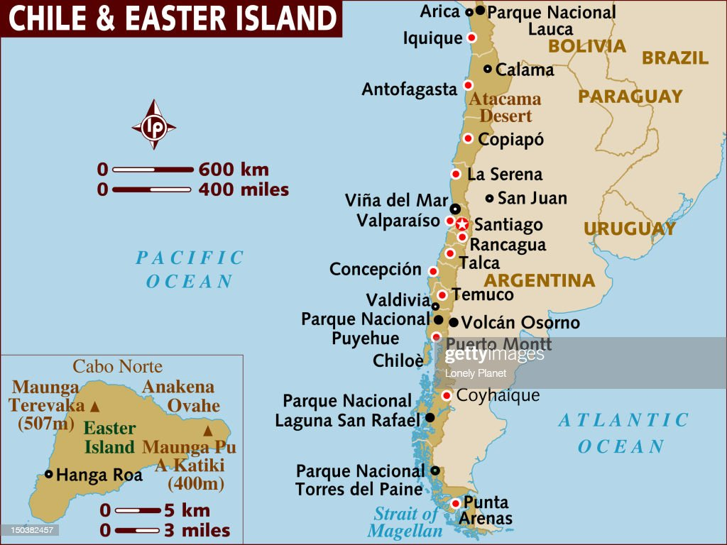 Map Of Chile And Easter Island Stock Illustration Getty Images - Map of chile
