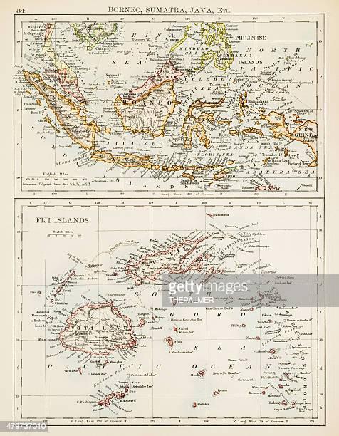 Carte de Fidji, Sumatra Bornéo 1897