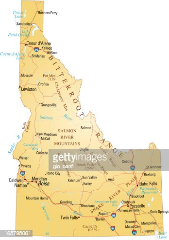 Map Of Idaho Vector Art Getty Images - Map of idaho