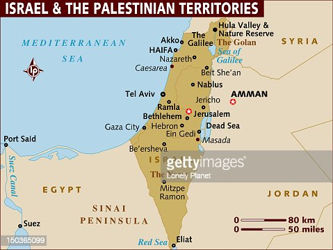 Map Of Israel And The Palestinian Territories Stock Illustration - Map of israel
