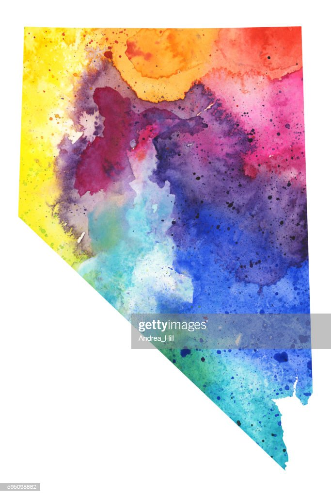 Map Of Nevada With Watercolor Texture Raster Illustration Stock - Mapofnevada