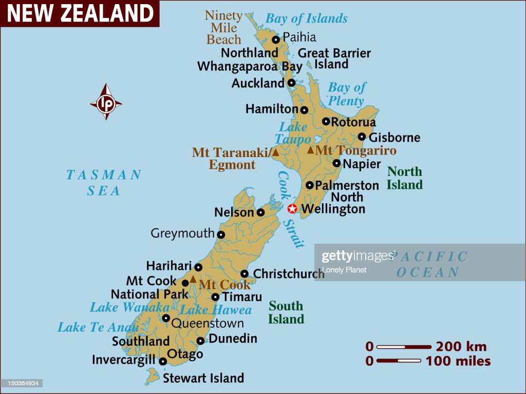 Map of New Zealand. : Stock Illustration