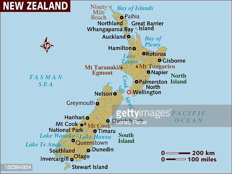Map of New Zealand. : Stock Illustration