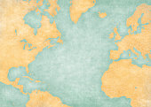 Blank map of North Atlantic Ocean with country borders. The Map is in vintage summer style and sunny mood. The map has soft grunge and vintage atmosphere, like watercolor painting on old paper.