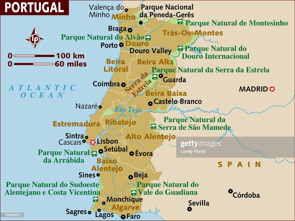 Map Of Portugal Stock Illustration Getty Images - Portugal map lonely planet