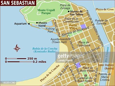 Map Of San Sebastian Stock Illustration | Getty Images