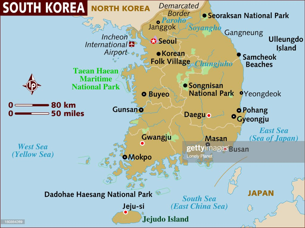 Map Of South Korea Stock Illustration Getty Images - Map of south korea