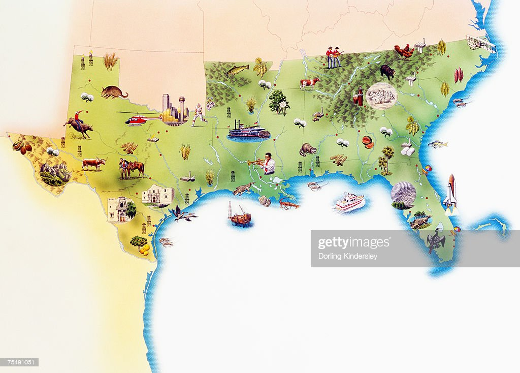 Map Of Southern United States Of America With Illustrations Of - Map of states of america